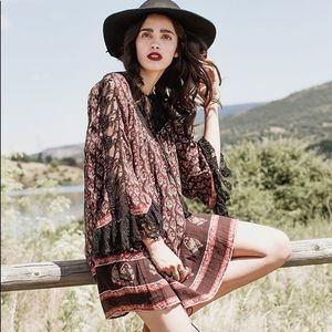 Free People Nomad Child Lace Floral Boho Dress S